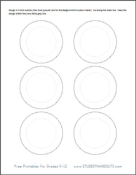 1 25 Inch button Template Printable Template for Making 2 1 4 Inch buttons