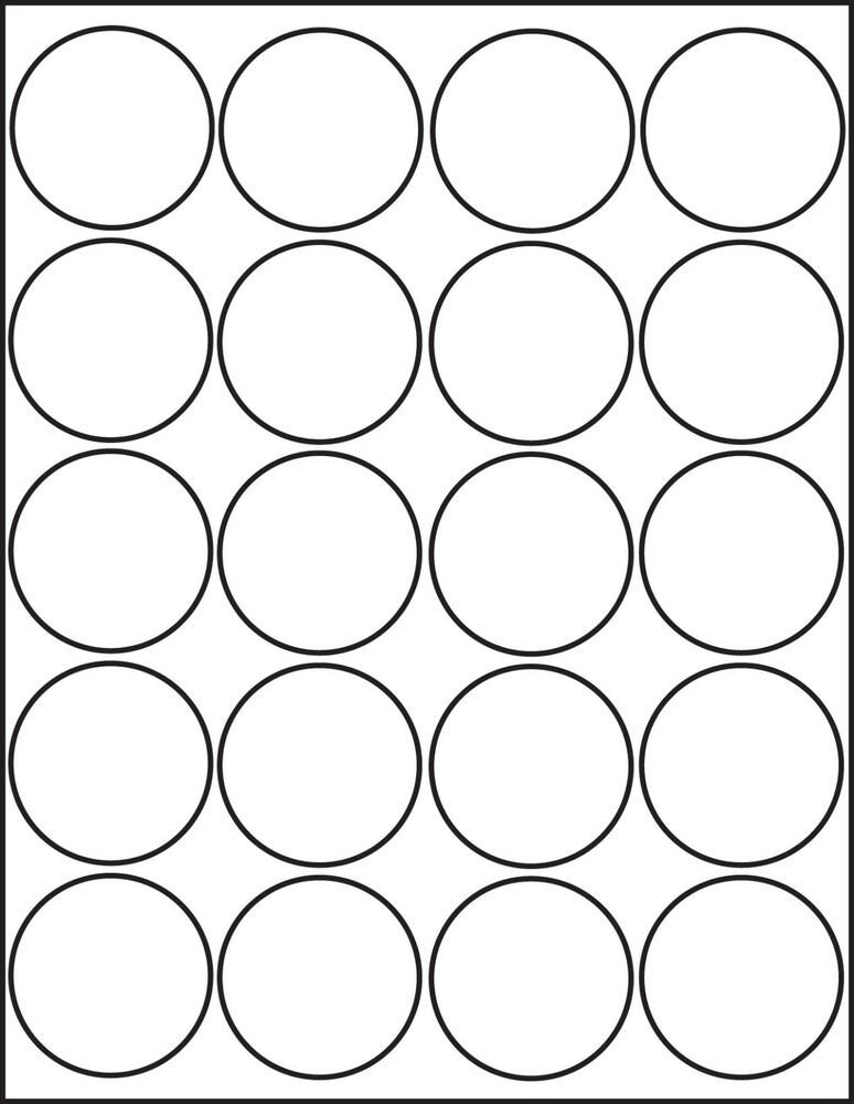 1 Inch Circle Label Template 500 Printable Laser Glossy White Round Stickers 2 Inch