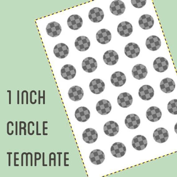 1 Inch Circle Template Digital Collage Template 1 Inch Circle Bottle Cap Template