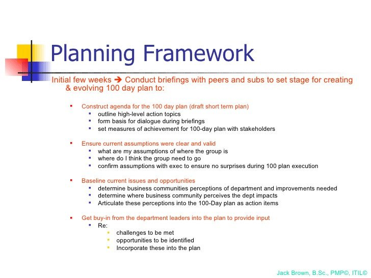 100 Day Planning Template 100 Day Plan for Directing A Pmo