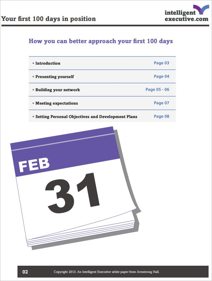 100 Day Planning Template 4 Sample 100 Day Plan Templates Download for Pdf Word