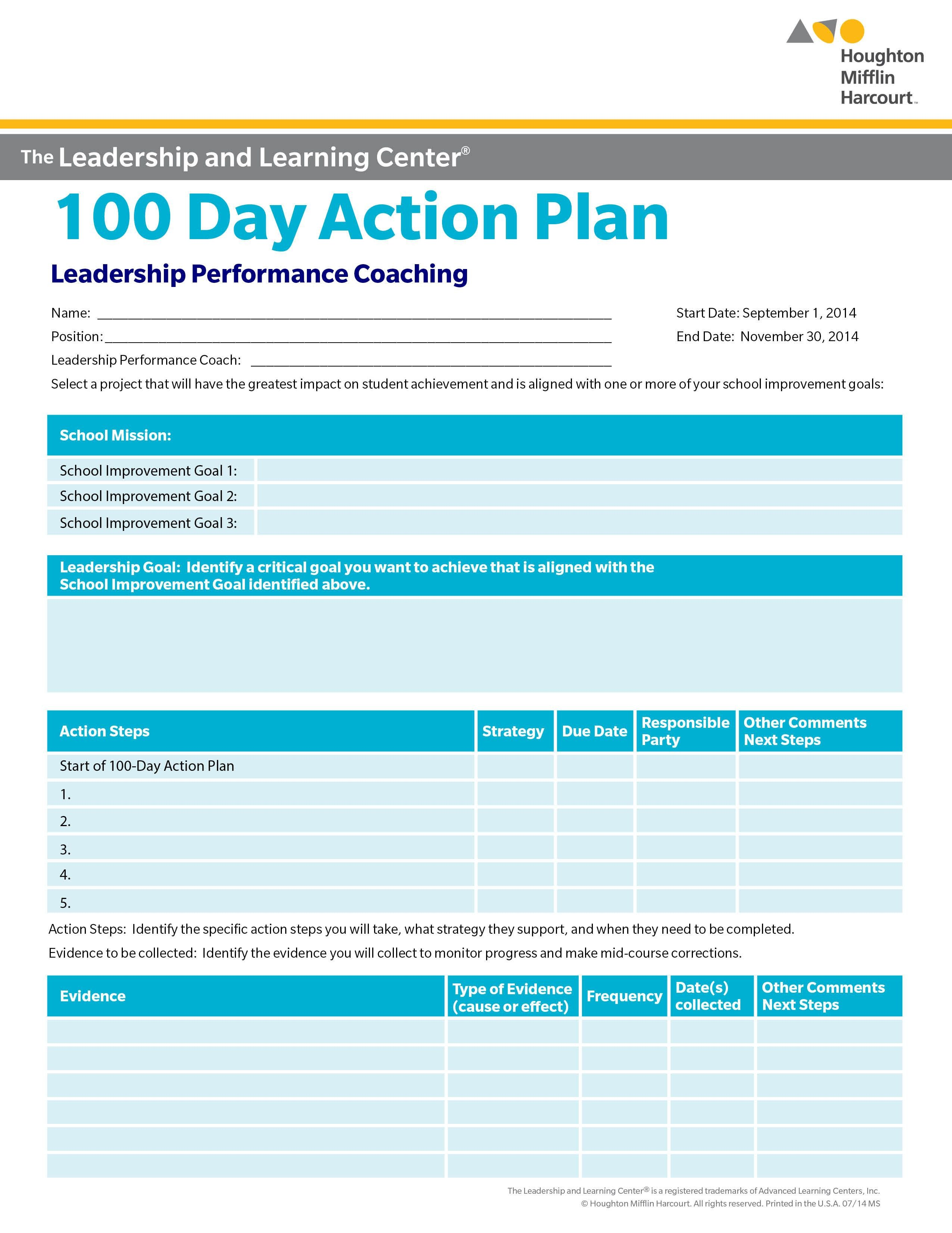 100 Day Planning Template School Improvement 100 Day Action Plan Select A Goal for