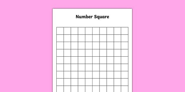 100 Square Raffle Board Blank 10 by 10 Number Square Blank 10 by 10 Number