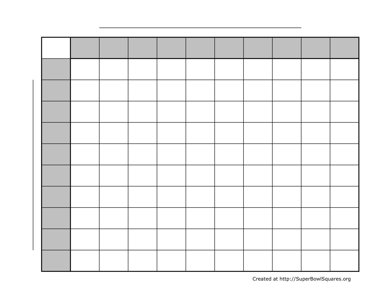 100 Square Raffle Board Blank 100 Square Grid Printable 100 Blank Chart Template