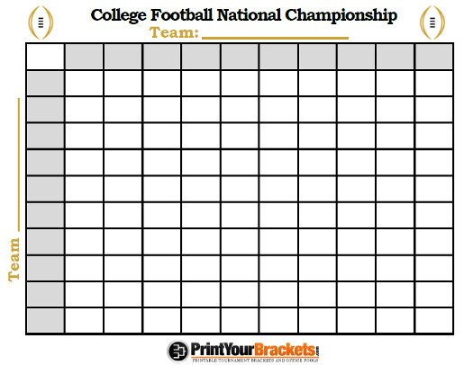 100 Square Raffle Board College Football National Championship Football Squares Pool