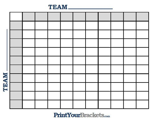 100 Square Raffle Board Printable Ncaa Football Bcs Squares 100 Grid Fice Pool
