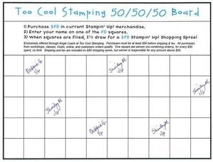 100 Square Raffle Board Special Announcement—new 50 50 50 Board too Cool Stamping