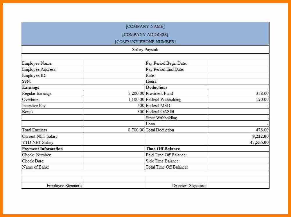 1099 Pay Stub Template Excel 11 Sample Pay Stub for 1099 Employee
