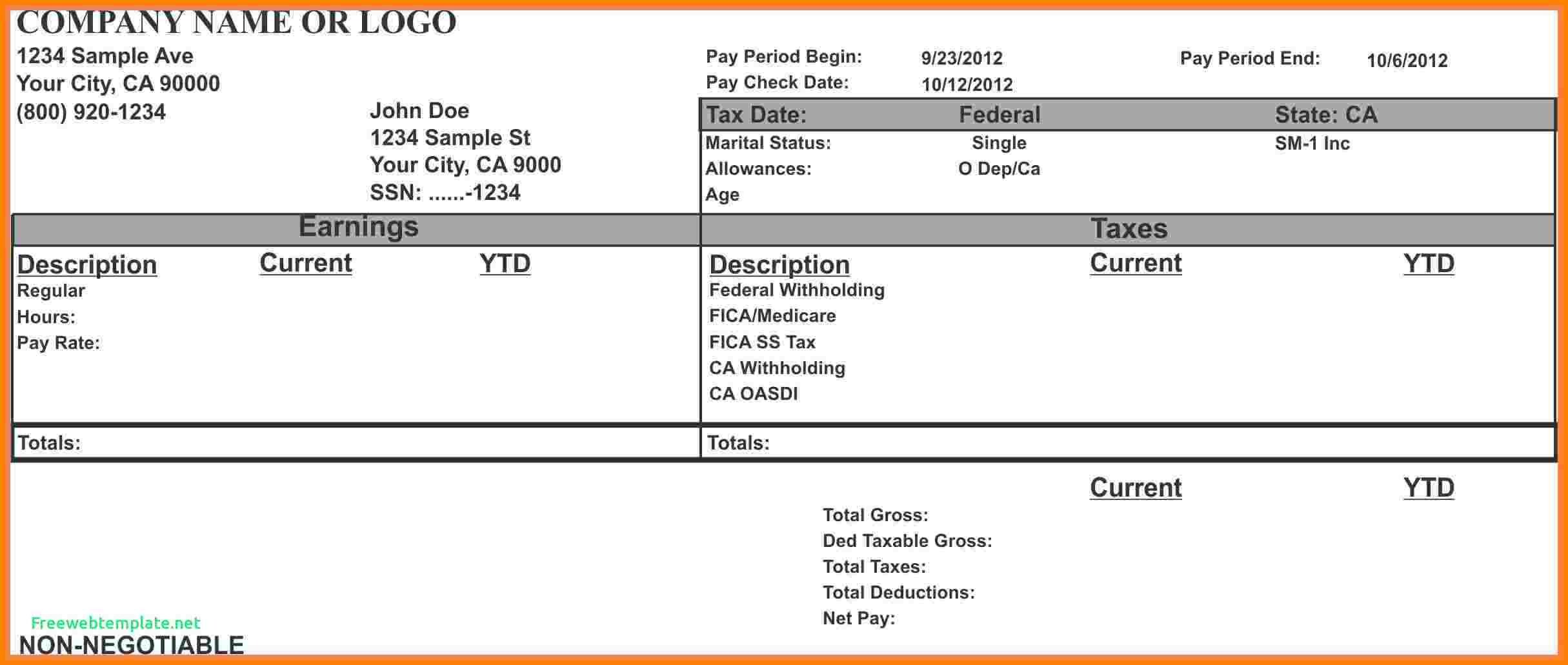 1099 Pay Stub Template Excel 7 Paycheck Stub Template for Excel