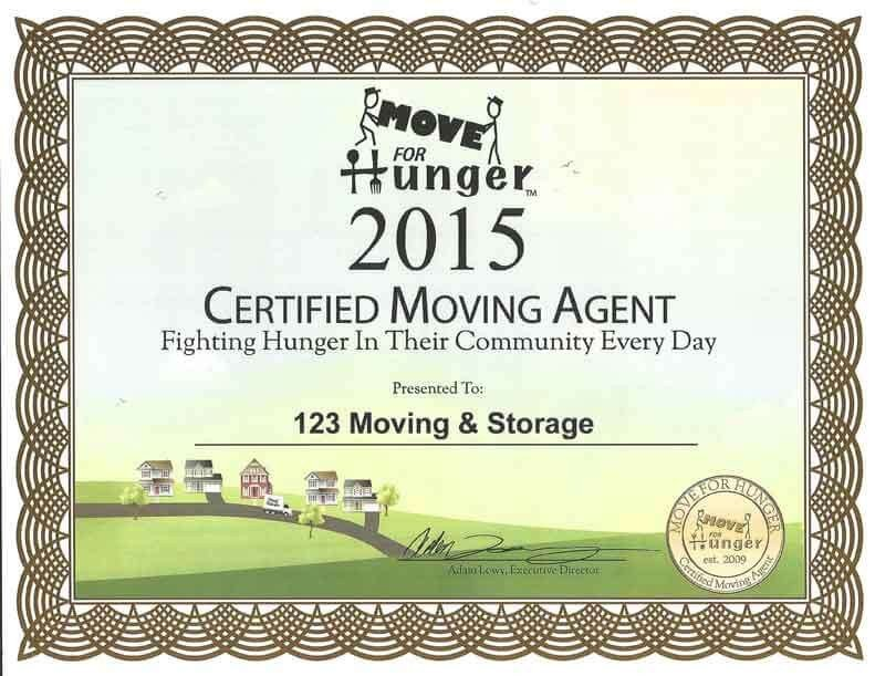 123 Awards Certificates Awards & Certificates 123 Moving & Storage