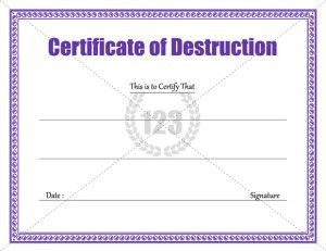 123 Awards Certificates Destruction Certificate Archives 123 Certificate
