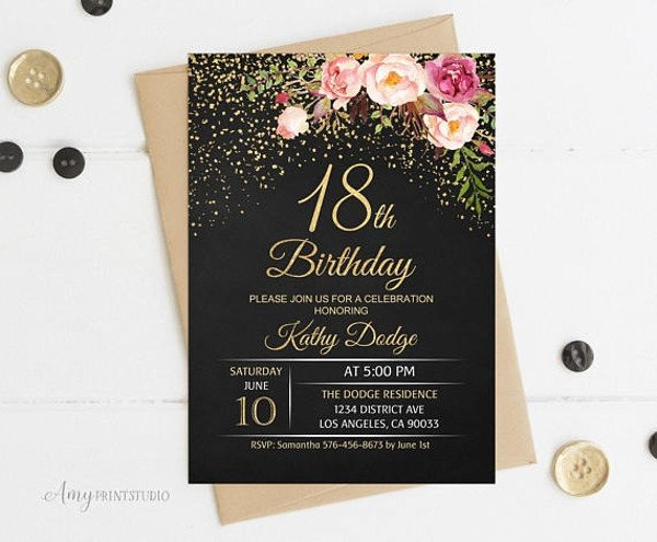18th Birthday Invitation Templates 14 18th Birthday Invitation Designs & Templates Psd Ai