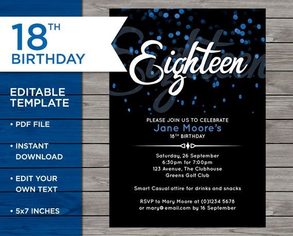 18th Birthday Invitation Templates 18th Birthday Invitation 18th Birthday Invitation Template