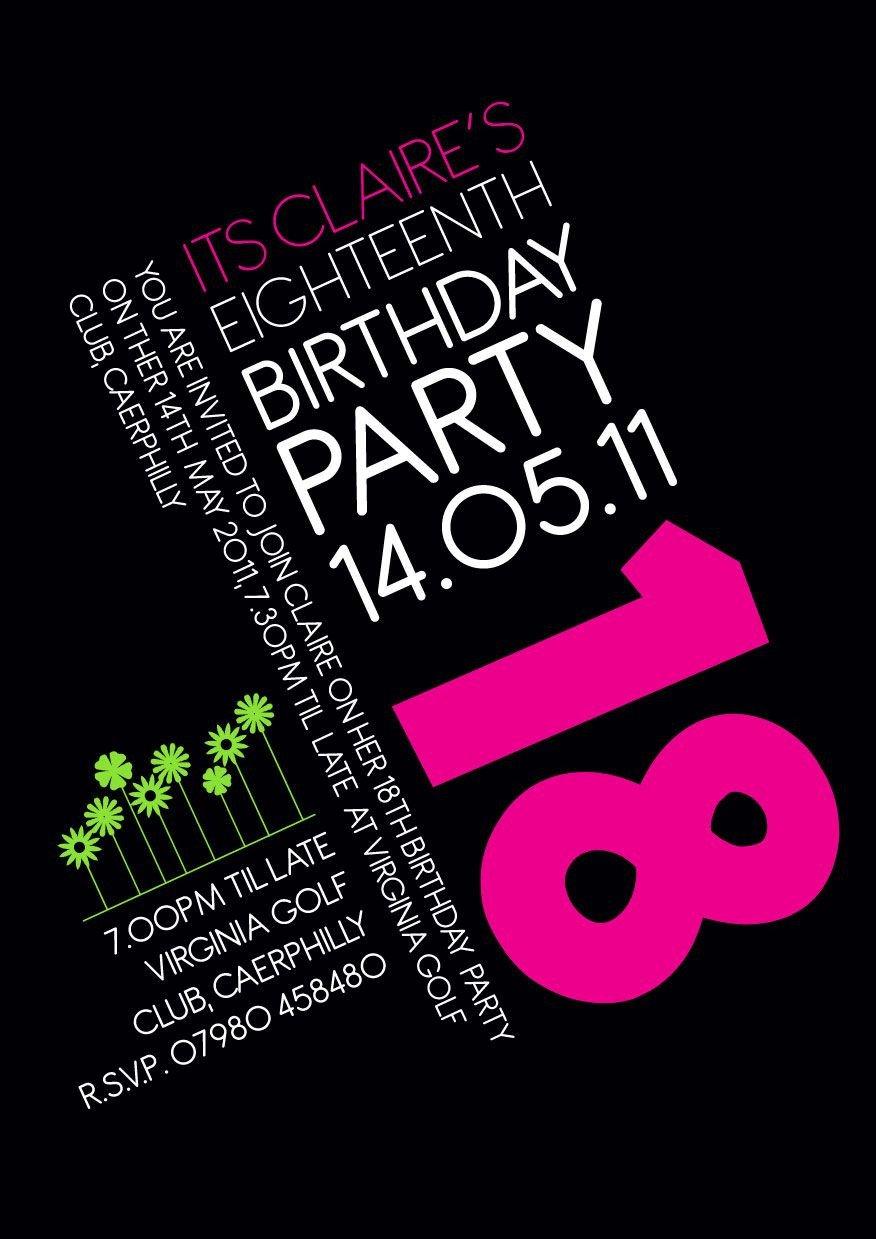 18th Birthday Invitation Templates 18th Birthday Invitation Idea Party