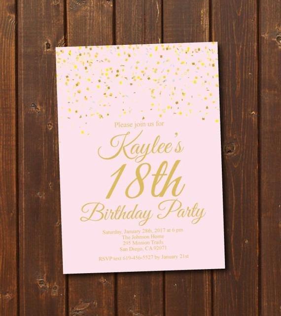 18th Birthday Invitation Templates 18th Birthday Invitation Printable Gold & Pink Birthday
