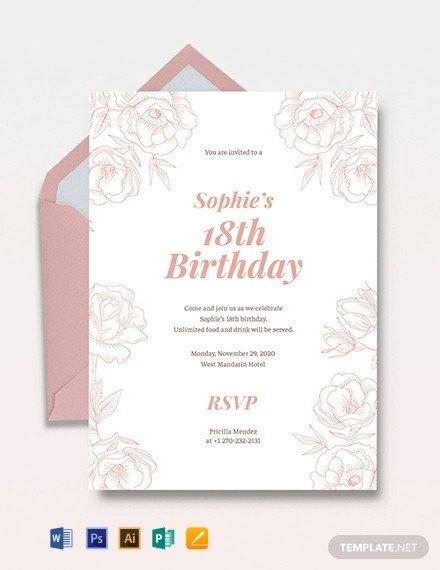 18th Birthday Invitation Templates 18th Birthday Invitation Template Download 310