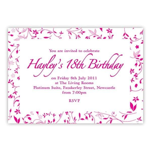 18th Birthday Invitation Templates 18th Birthday Invitations Templates