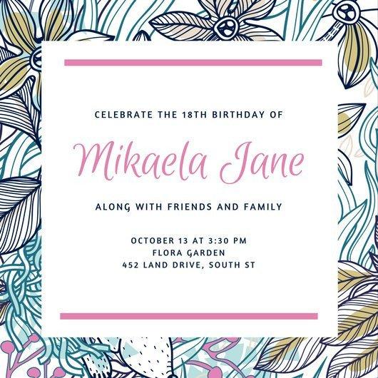 18th Birthday Invitation Templates Customize 1 023 18th Birthday Invitation Templates Online