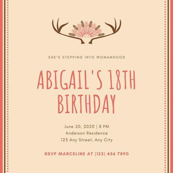 18th Birthday Invitation Templates Customize 376 18th Birthday Invitation Templates Online