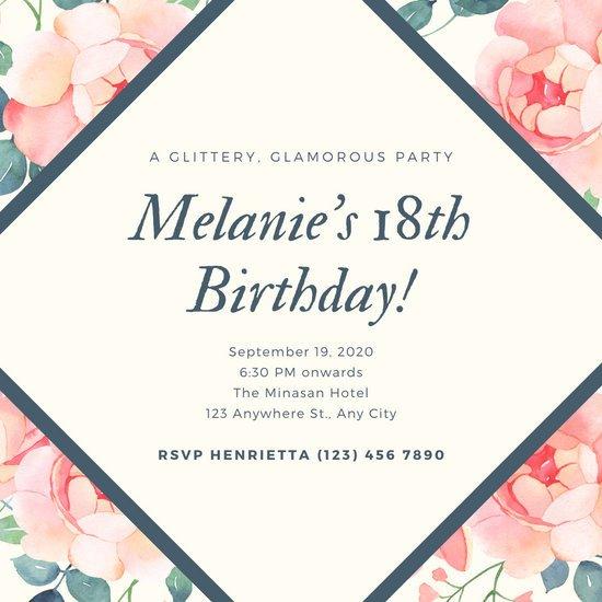 18th Birthday Invitation Templates Customize 377 18th Birthday Invitation Templates Online