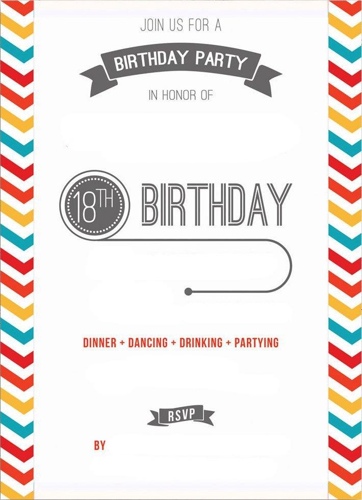 18th Birthday Invitation Templates Free Printable 18th Birthday Invitation