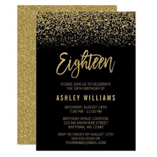 18th Birthday Invitation Templates Modern Black Gold Faux Glitter 18th Birthday Invitation