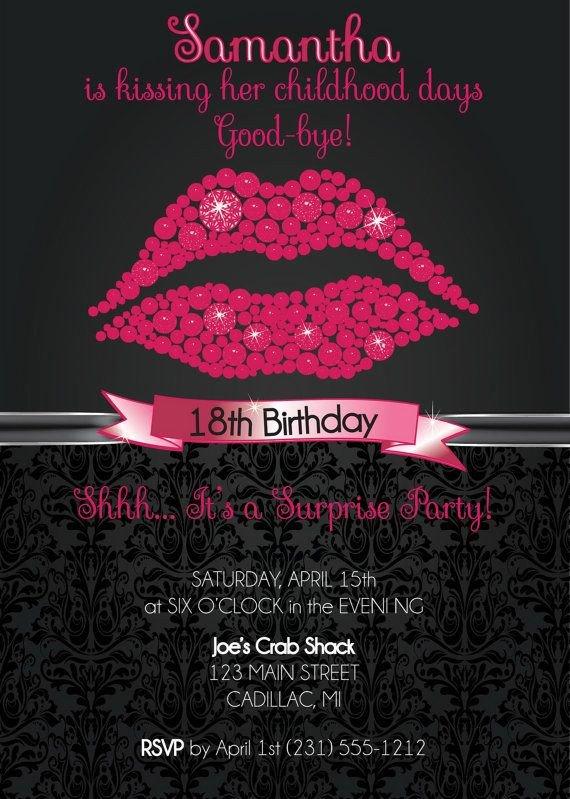 18th Birthday Invitation Templates Pink Glitter Lips Custom Birthday Invitation 18th