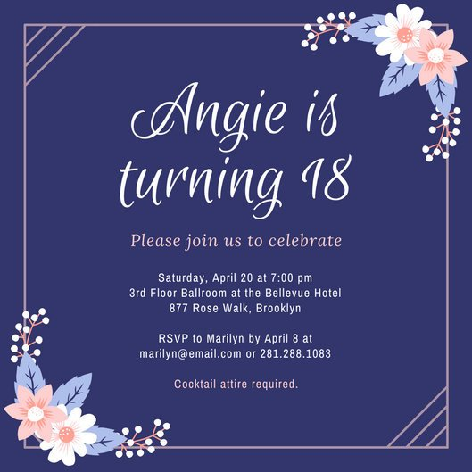 18th Birthday Invitation Templates Purple and Pink Flowers 18th Birthday Invitation