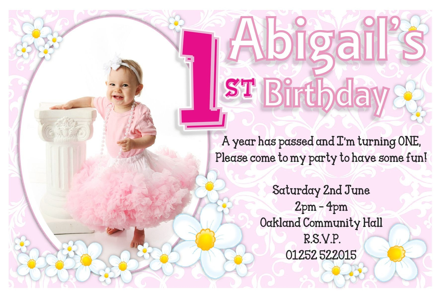 1st Birthday Invitation Template 1st Birthday Invitations Girl Free Template 1st Birthday