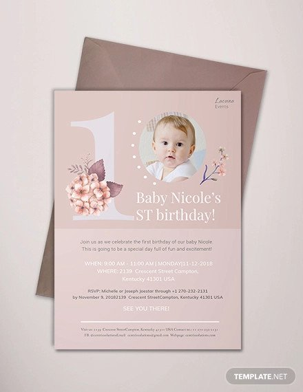 1st Birthday Invitation Template 70 Birthday Invitation Designs & Examples Psd Ai