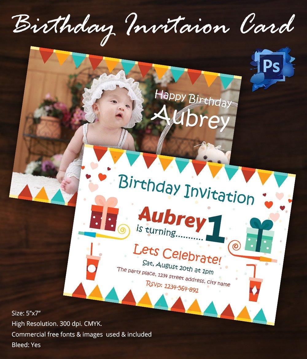 1st Birthday Invitation Template Birthday Invitation Template 32 Free Word Pdf Psd Ai