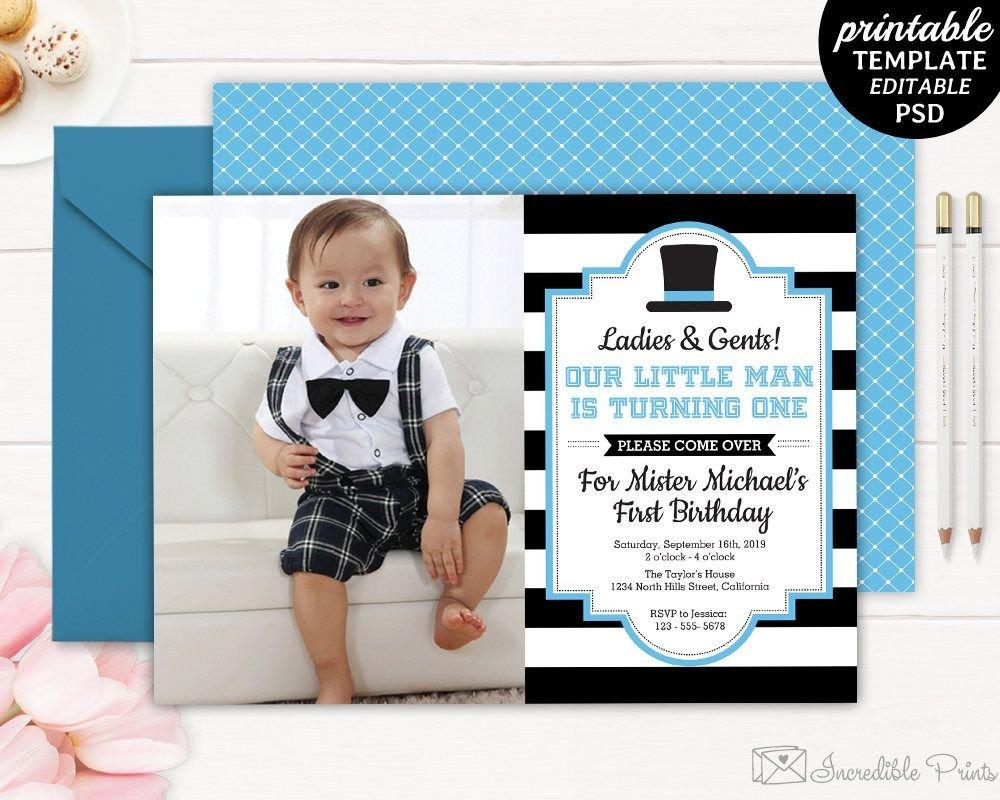 1st Birthday Invitation Template Gentleman Birthday Invitation Boy First Birthday Invite