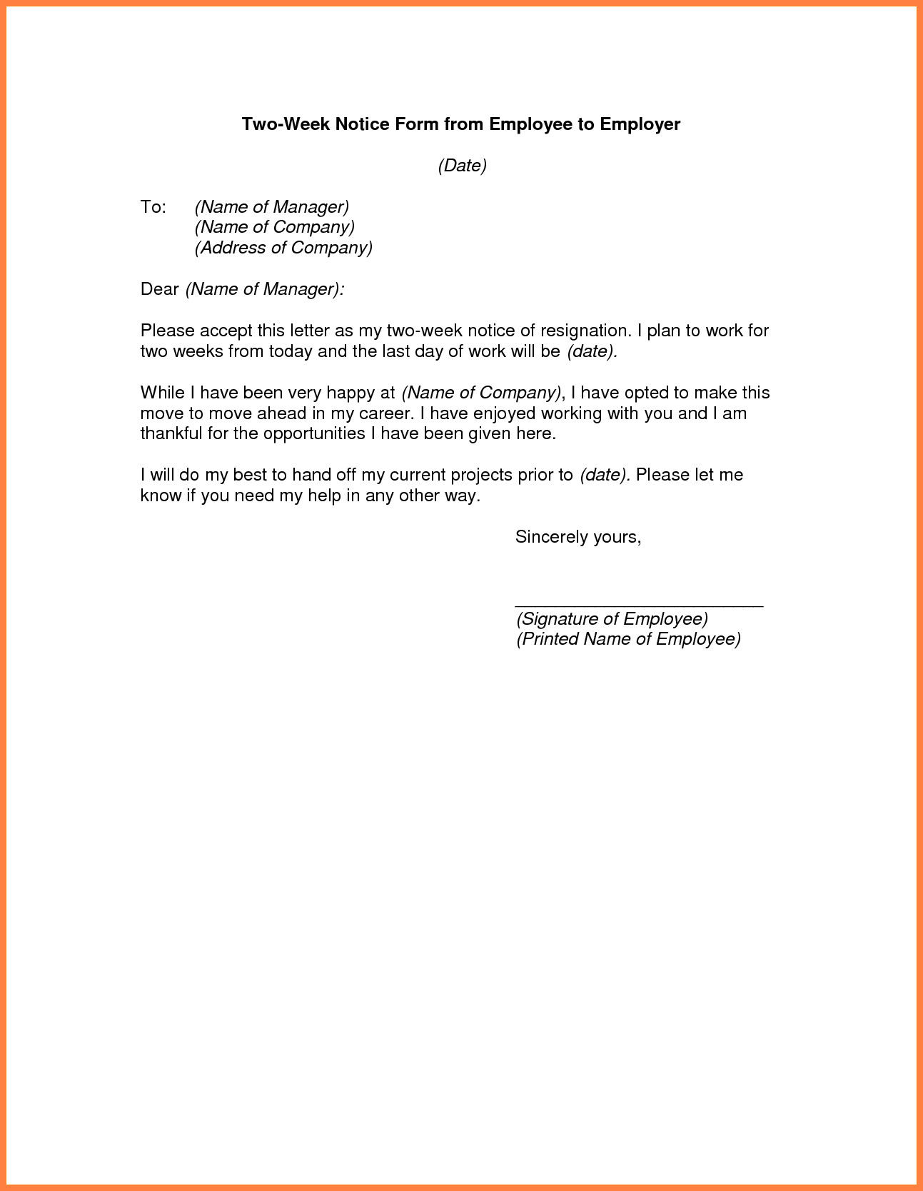 2 Week Notice Template Word 3 Example Of A Professional Two Weeks Notice