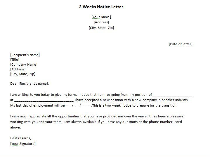 2 Week Notice Template Word 40 Two Weeks Notice Letters & Resignation Letter Samples
