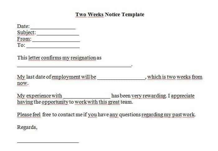 2 Week Notice Template Word 5 Free Two Weeks Notice Letter Templates Word Excel