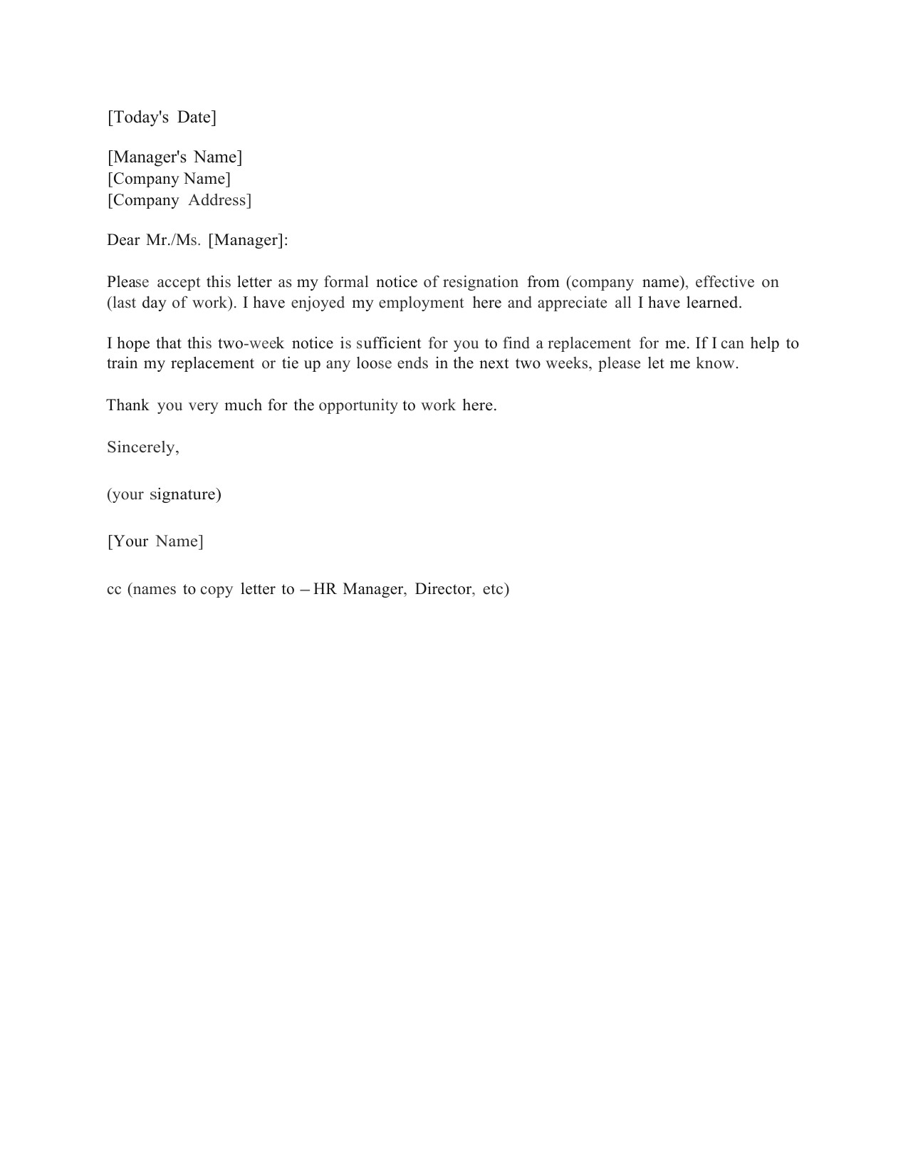 2 Week Notice Template Word Download Standard Two 2 Weeks Notice Letter Template and