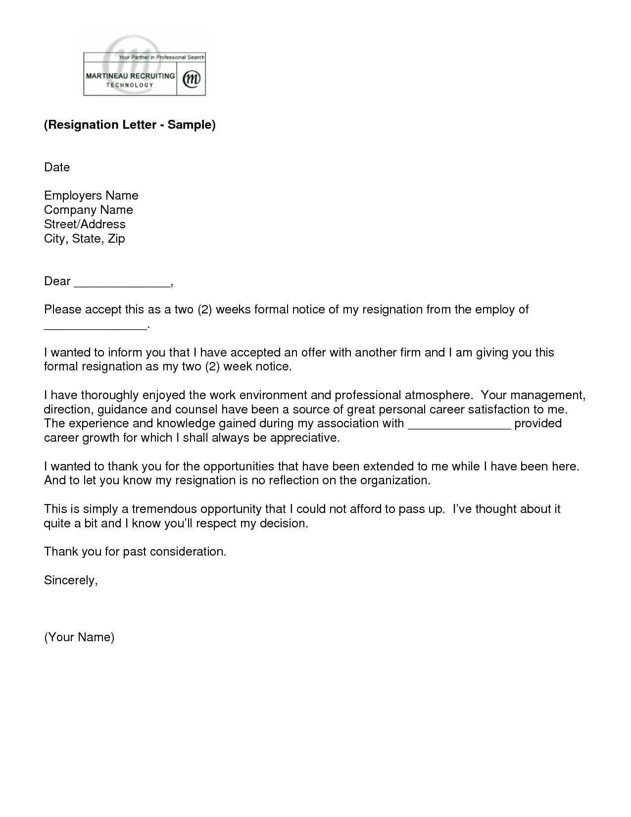 2 Week Notice Template Word Letter Of Resignation 2 Weeks Notice Template