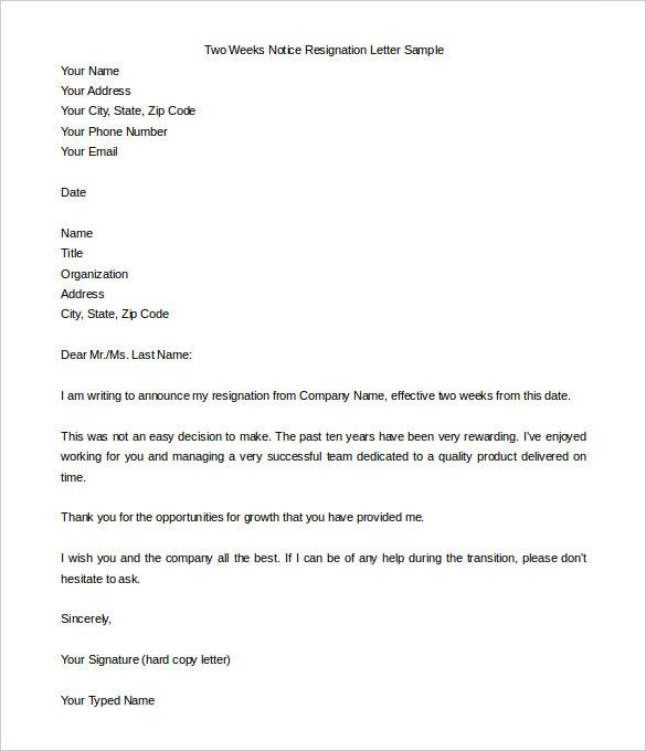 2 Week Notice Template Word New Sample Resignation Letter In Word Doc