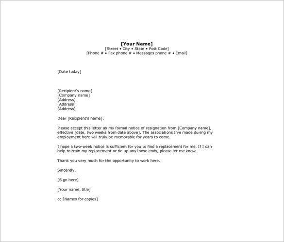 2 Week Notice Template Word Resignation Letter 2 Week Notice
