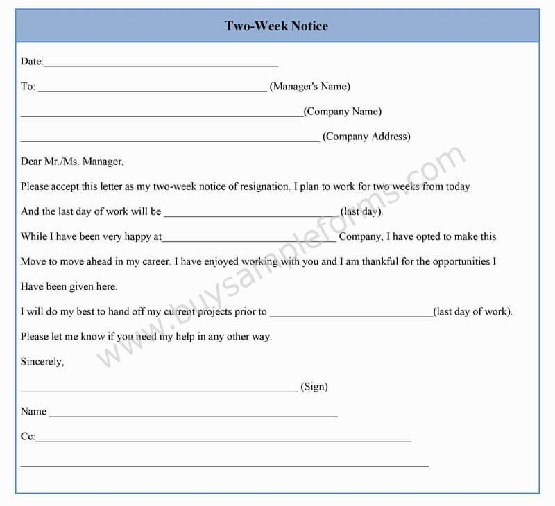 2 Week Notice Template Word Two Week Notice form Template In Word Sample format