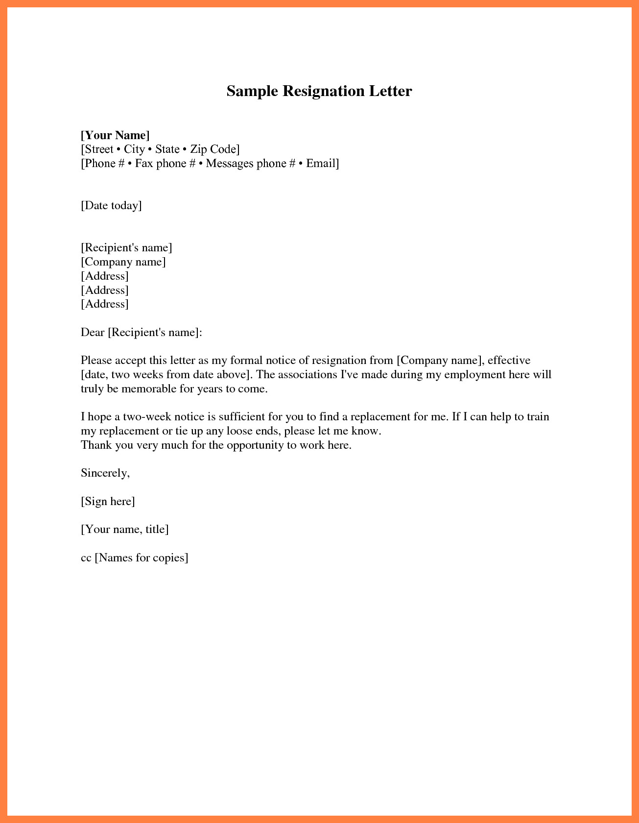 2 Week Notice Template Word Two Week Notice Template