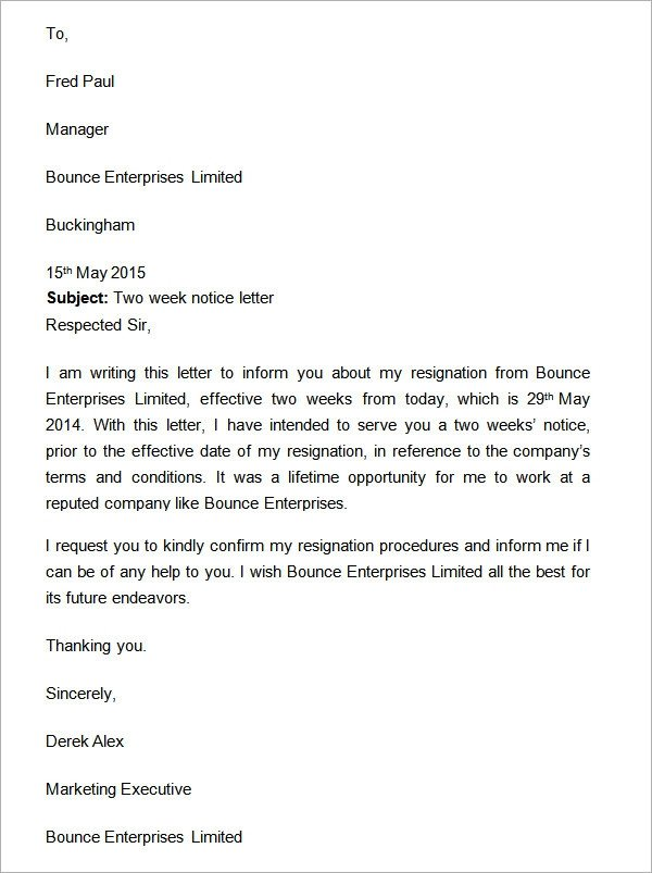 2 Week Notice Template Word Two Weeks Notice Letter 12 Download Free Documents In Word