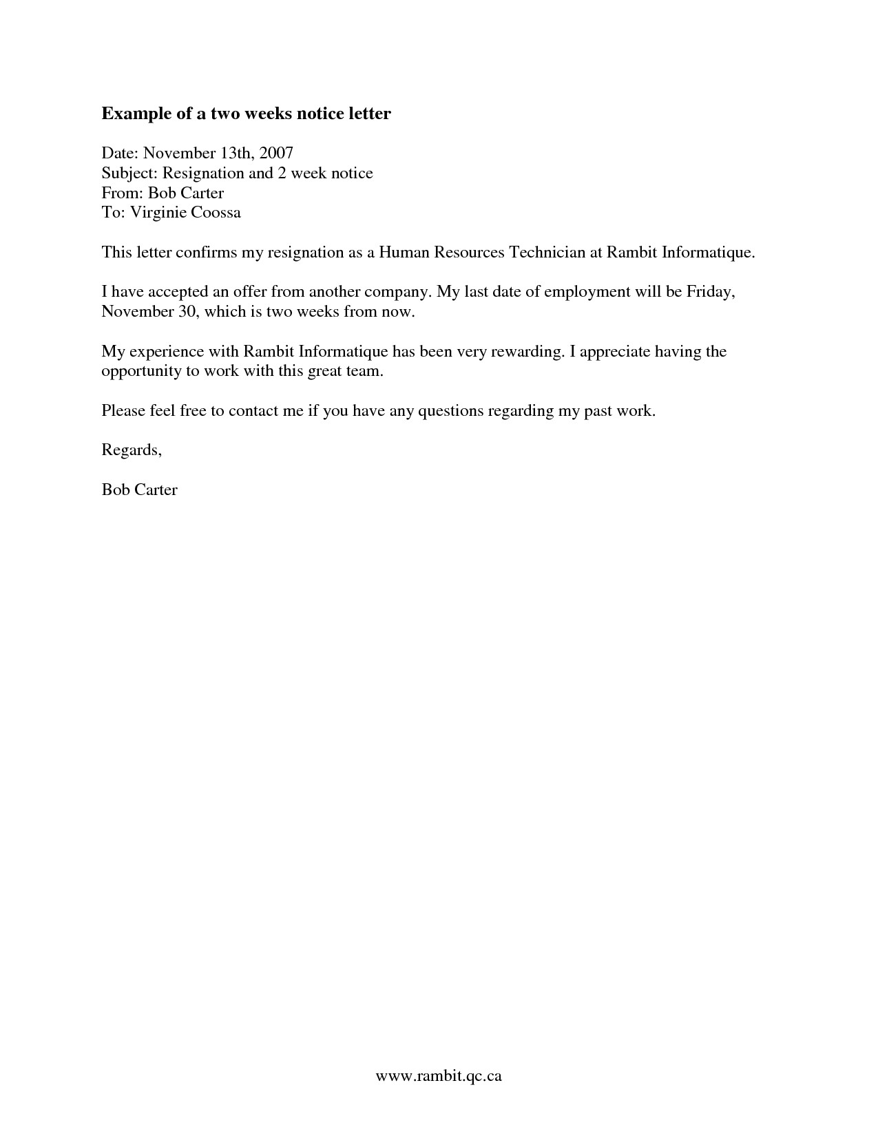 2 Week Notice Template Word Two Weeks Notice Letter Template