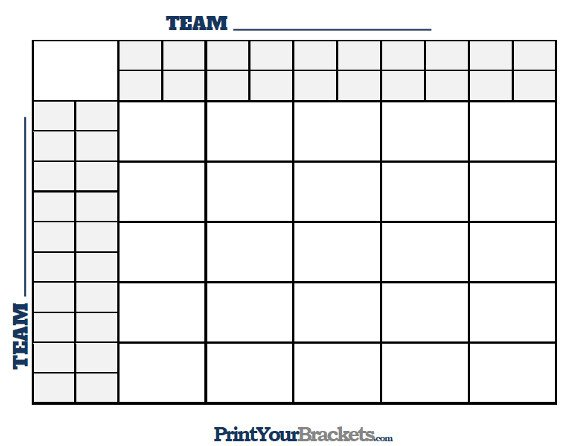 25 Square Football Pool 25 Square Grid with Halftime Lines Printable Version