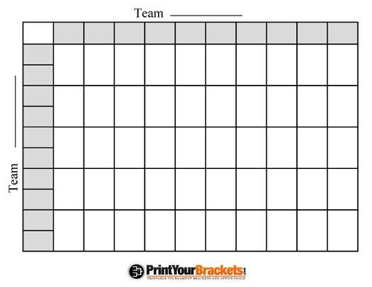 25 Square Football Pool Fotball Poll Sheets