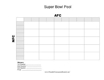 25 Square Football Pool Printable 25 Square Super Bowl Grid