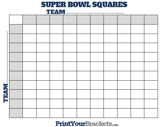25 Square Football Pool Printable Super Bowl Squares 100 Square Grid Fice Pool