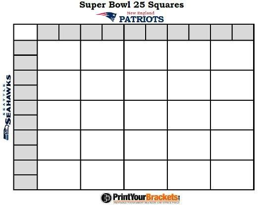 25 Square Football Pool Printable Super Bowl Squares 25 Grid Fice Pool Nfl