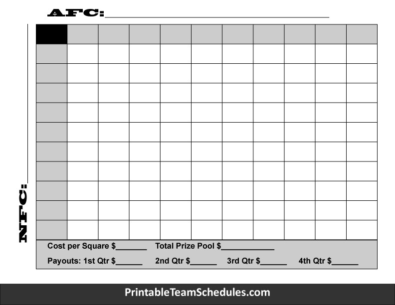 25 Square Football Pool Printteamschedules Pteamschedules