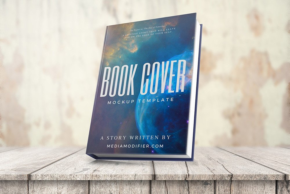3d Book Cover Template 3d Book Cover Mockup On Wood Stage Mediamodifier Free